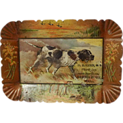 "TOLE Dog Tip Tray ""Young Jingo"" Physician Advertising ca. 1900"
