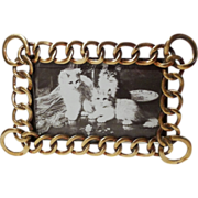 BRASS RING Horizontal & Vertical D.R.G.M. Picture Frame Beveled Glass
