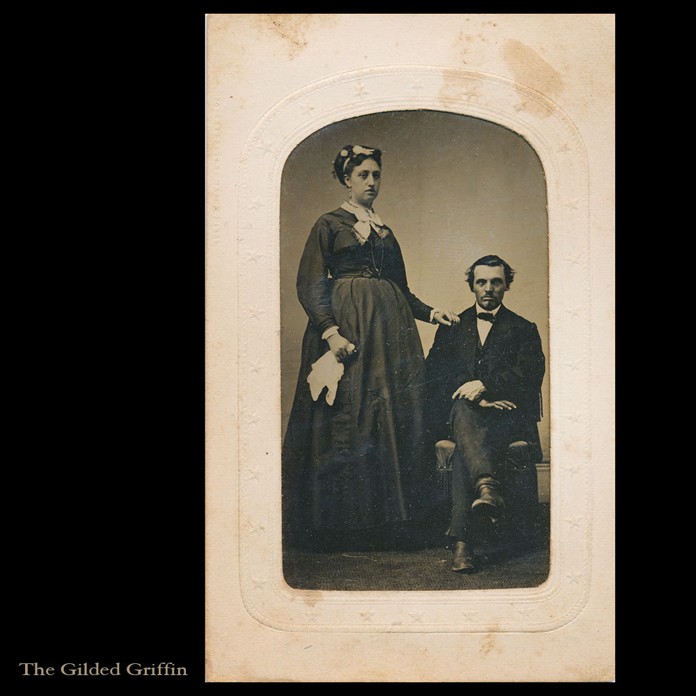 Unusual Maternity Tintype, Civil War Era, Dated 1865 with Potter's Patent on Original Star Embossed Sleeve