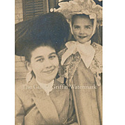 All Smiles! Unusual c 1903 Photograph of Mother and Daughter