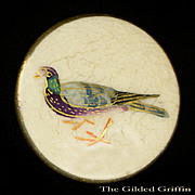 Antique Satsuma Button: Carrier Pigeon