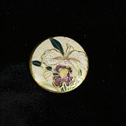 Antique Satsuma Button: Cattleya Orchid Botanical