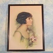 Adelaide Hiebel 1920's Young Lady Vintage Framed Print