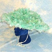 Green Feather Vintage 1960's Conical Coolie Style Ladies Hat