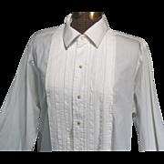 Vintage 1940s Mens White Cotton Tuxedo Shirt