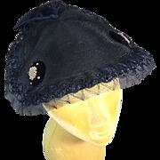 Definitive 1950's Vintage Navy Blue Crownless Hat