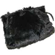 Striking Edwardian Black Bear Fur Winter Hand Muff