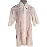 Summery 1960s Mens Tropical Embroidered Vintage Short Sleeve Shirt.