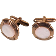 Vintage 1940's Gold Tone Cufflinks w Mother of Pearl