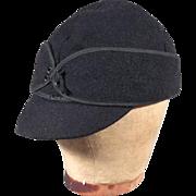 Classic 30s-40s Mens Vintage Black Wool Outdoor Sport or Work Cap