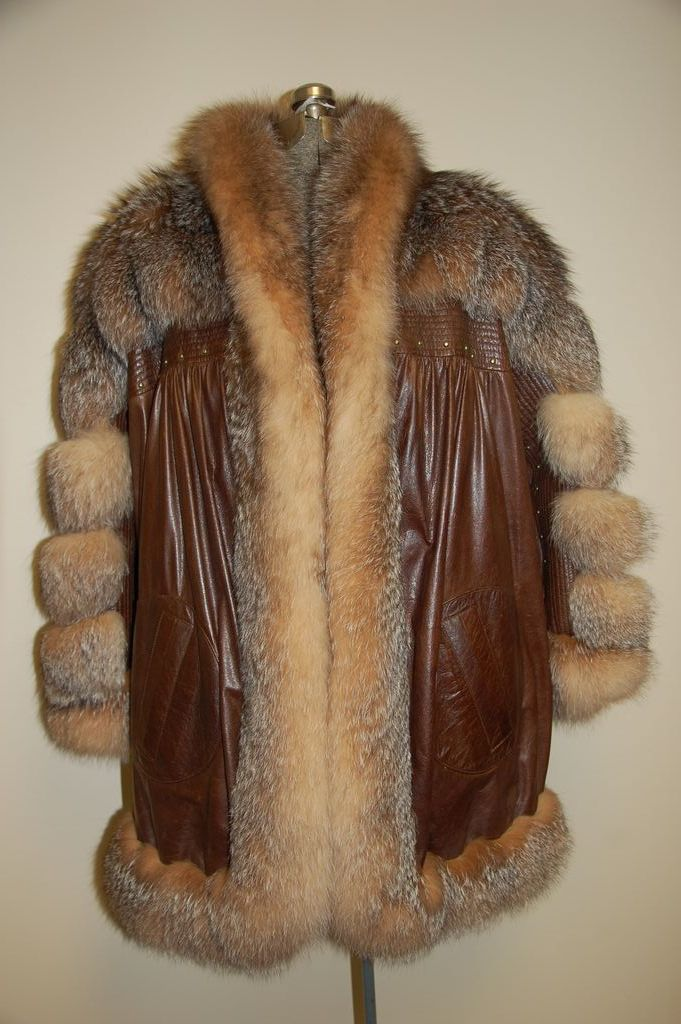 Designer Ted Lapidus Fox fur w Leather Coat Jacket