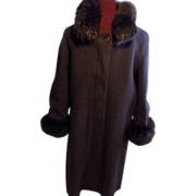 Hilary Radley Classic brown wool Coat, removable lining w Fox fur Trim