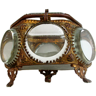 Antique French  Casket Vanity Vitrine Ring Box Footed with Beveled Glass and  Ormolu Unusual Size