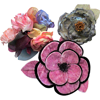Trio of Vintage Millinery Flowers