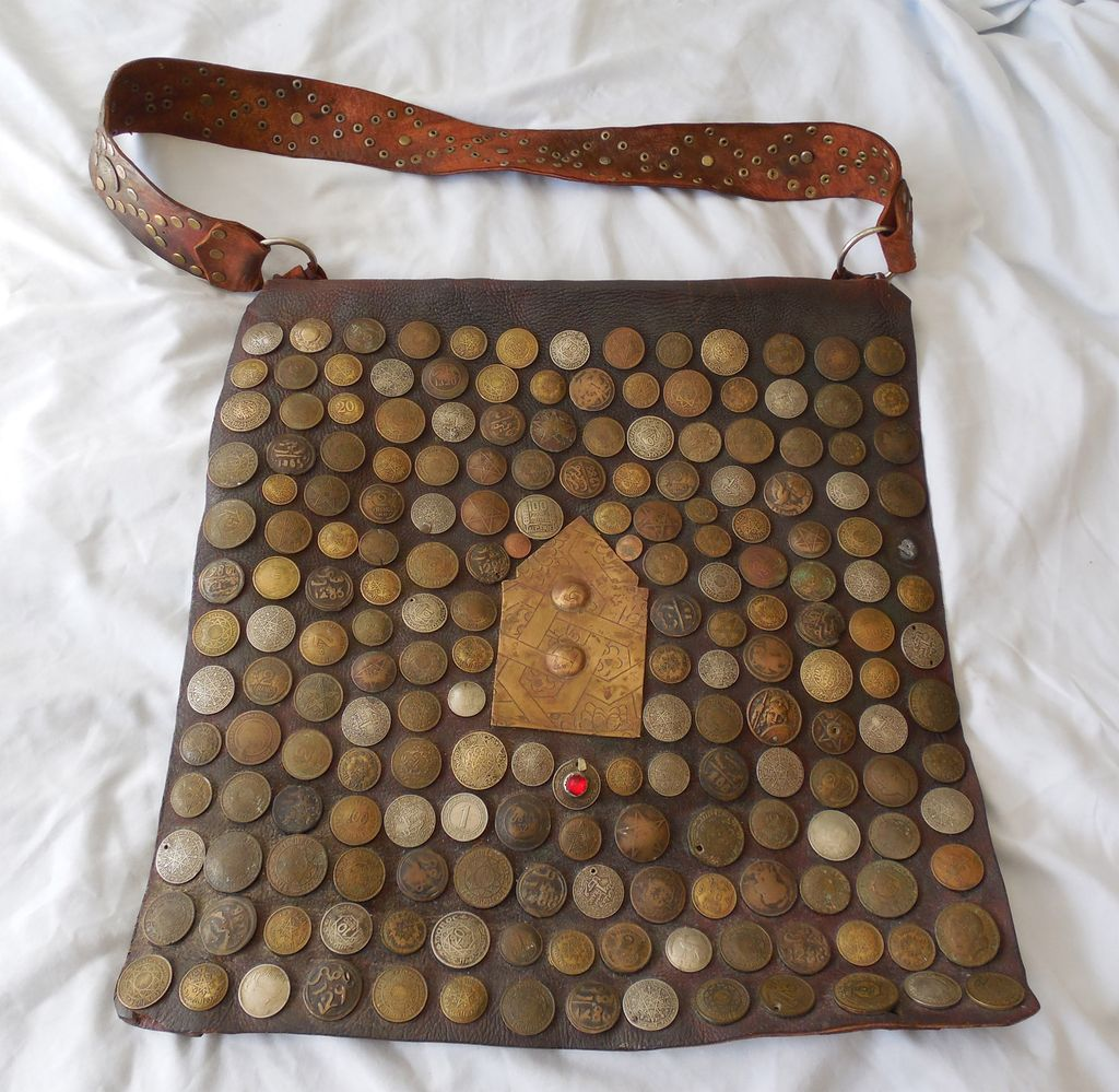 Vintage Morocco Water Carrier Bag - Leather With Old Coins