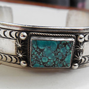Aaron Toadlena Sterling Silver and Turquoise Bracelet