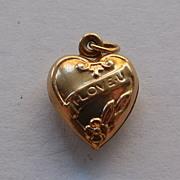 10K Gold Victorian Puffy Heart Charm - I Love U