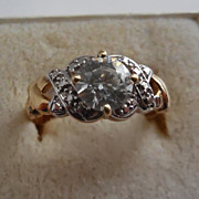 Lovely 10K Gold Faux Diamond Ring - size 9