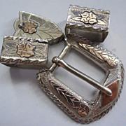 Sterling & 10K Mexico Ranger Belt Buckle Set