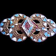 French Arts & Crafts Brass Cloisonne Enamel Slide - Scroll & Floral Motif - Blue White and Red Enamel