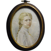 1910 Signed Mary Golden Younglove Miniature Painting of Young Ethel DeLang Hein