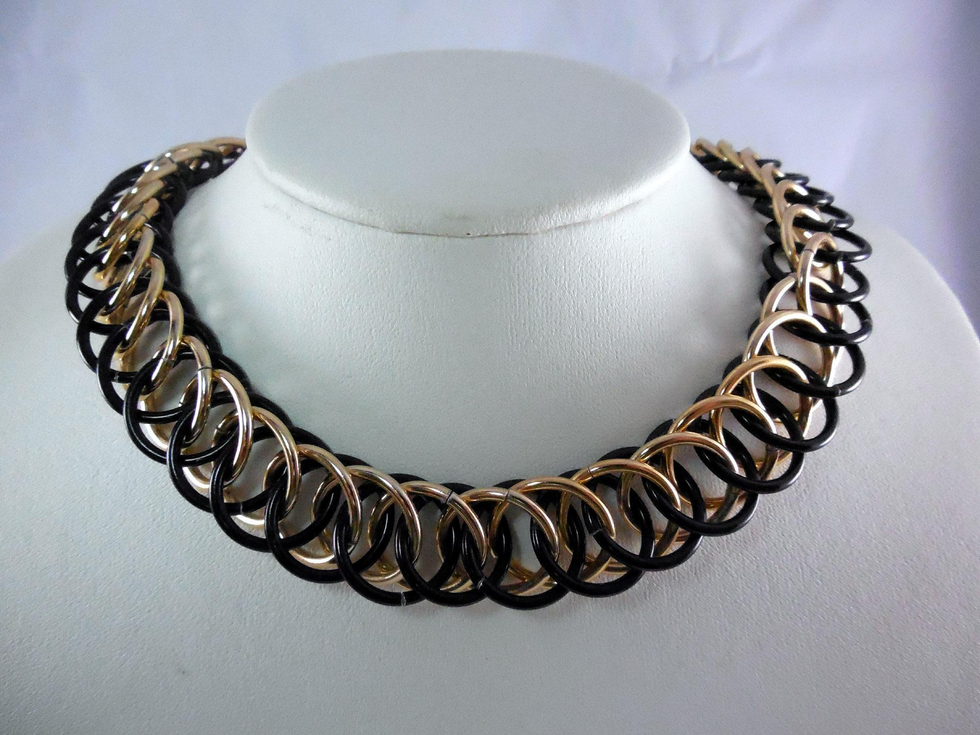 Vintage French Necklace - Interlocking Circles in Gold and Black