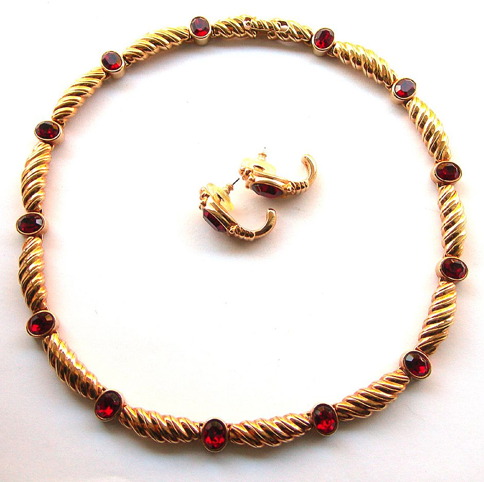 Signed  Red Crystal Swarovski Necklace Set with Matching Earrings - Swan Logo