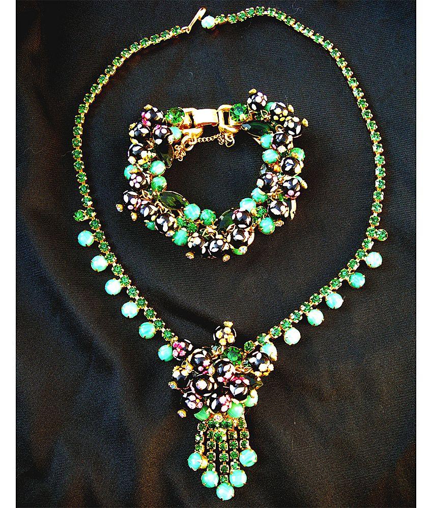 Juliana D&E Hand Painted Polka Dot Necklace and Bracelet