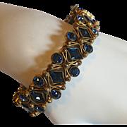 Czech Blue Rhinestone Hinged Bangle Bracelet