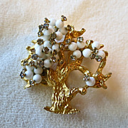 Hattie Carnegie white beads and rhinestone tree of life brooch