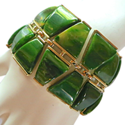 Wide Charel Green Marbled Bakelite Bracelet