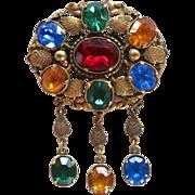 Coro Pegasus 1940's Ornate Rhinestone Dangle Pin