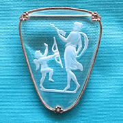 Cupid & Venus Intaglio Glass Brooch