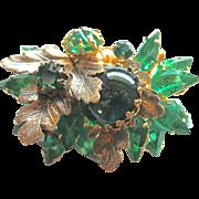 DeMario Flawed Emerald Green Rhinestone Floral Brooch