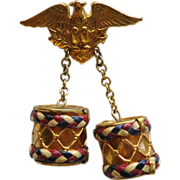 WWII Patriotic Eagle with Drums Brooch