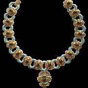 Antique Gilt Enamel Faux Amethyst Purple Glass Cabochon Necklace