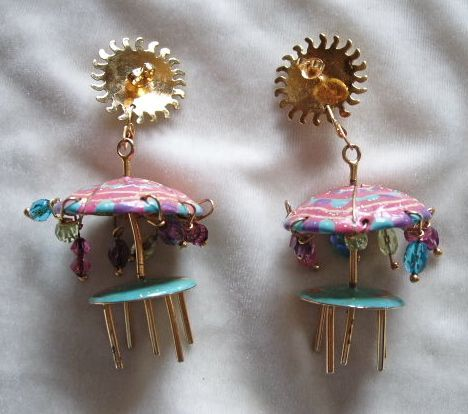 Retired 1989 Lunch at the Ritz beach umbrella table earrings ~ WILD!