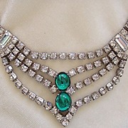 Art Deco style rhinestone necklace with green cabochons