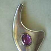 Beto Taxco Mexico sterling amethyst modernist brooch