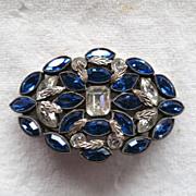 Deep blue and clear navette rhinestone Czech brooch