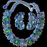 Vintage Blue & Green Rhinestone Necklace Set - Ocean Colors
