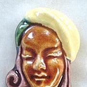 California ceramic woman in turban pin ~ Elzac style