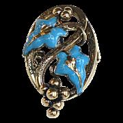 Unique Enameled Nouveau Brooch