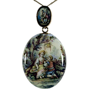 Romantic Victorian Painting on Enamel in Gold Framed Pendant