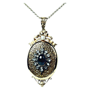 Exquisite French Victorian Locket with Cabochon Garnet & Diamonds