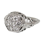 Art Deco 18 K Diamond Cluster Ring