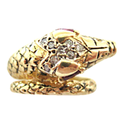 Vintage Diamond Clustered Head Snake Ring With Ruby Eyes
