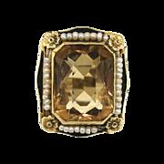 Vintage 1920s Citrine, Pearl & Enamel Ring in 14K White Gold