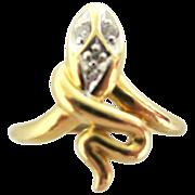 Stunning Vintage 18K Gold Snake Ring