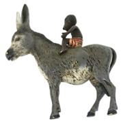 Darling Donkey With A Child In Striped Pants